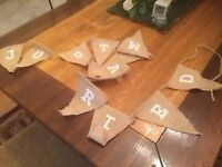 Just married hessian bunting wedding dcoration
