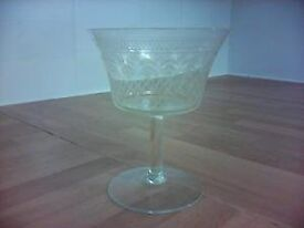 6 Cut Glass Champagne Glasses