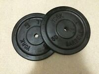 """2x 50 Lbs York Weight Plates with 1"""" Hole"""
