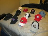 Collection of NHL, MLB, QMJHL, IIHF, Olympic, and CFL hats