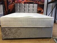 Double Divan Crush velvet Bed with memory foam or Orthopedic mattress
