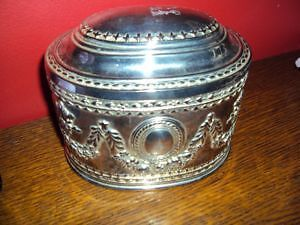 Silver plated jewellery box, 4 x5 x4 inches with red lining