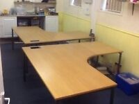 FREE. 2 Large Solid Wooden Ergonomic Desks Free to be collected by Tuesday 26th July 2016