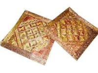 """Indian Toss Pillow Cushion Covers-2 Rust Mirror Embroidered Throw Pillow Shams 16"""""""