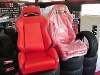 BANC SIEGE SEAT RECARO STYLE RED LEATHER CUIR ROUGE NEW PAIR