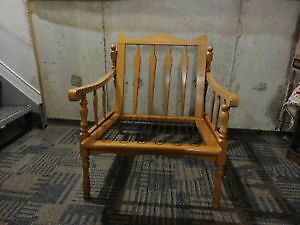 Vintage solid wooden lounge chair with black/gold accent cushion London Ontario image 4