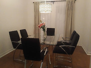 Contemporary Chrome and Glass Dining Table with Six Chairs