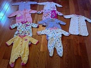 Baby Girl Zippered Sleepers and Sleep Sack (0 to 3 months) -x15-