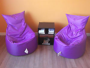 2 PAN AM GAMES PURPLE BEAN BAG CHAIRS