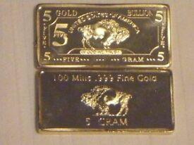 5 GRAM 24k GOLD 100 Mills Buffalo Bar Bullion