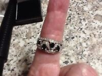 9ct Yellow Gold Sapphire & Diamond Ring.Size P1/2.Head measures 24mm X 10mm.NEW