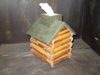 Log Cabin Tissue Box Whimsical New Wood Design 50% OFF CLOSING