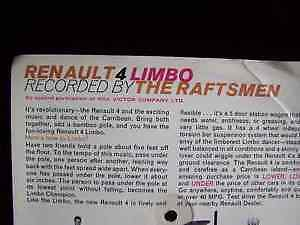 """Renault 4 Limbo"" cardboard promotional record 45 / 33 Cambridge Kitchener Area image 3"