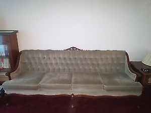 French Provincial Camelback Sofa with Armchair