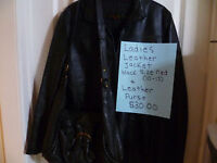 Women's Black Leather Jacket & Leather Purse