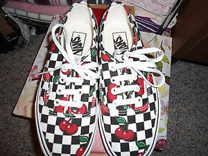 Brand New Cherry/Checker Print Vans Shoes