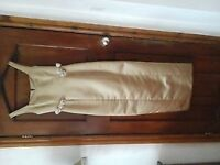 2 matching Wearhouse Bridesmaids dresses, sizes 10. Long, Gold with cream Roses details