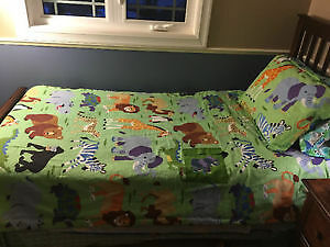 Twin bed with mattress and boxspring