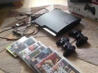 PLAYSTATION 3 CONSOLE (BLACK) (2 CONTROLLERS + ALL WIRES INCLUDED + GAMES)