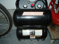 TWO MOTOMASTER 6 GALLON COMPRESSORS PLUS ACCESORIES
