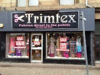 Material shop for dress making etc on Cathcart Road Available Now
