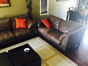 Genuine Leather Sofa and Love Seat (Excellent Condition)