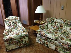 Floral couch and chair for sale