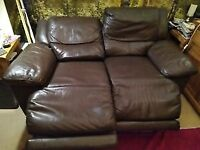 Brown Leather Electric Double Reclining Sofa