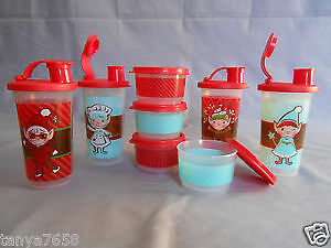 Brand new Tupperware set of 4 xmas tumblers and snack cups