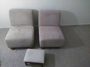 2 Modern Lounge Chairs and Vintage Sewing Stool/Bench -