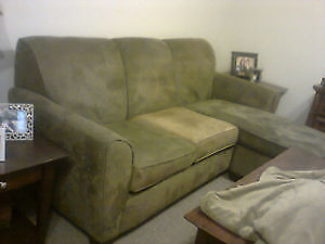 Olive green faux suede sofa