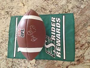 Rider Autographed Football with two signatures