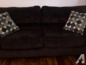large dark brown microfiber couch delivery included