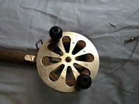 Antique fishing reel - spooled with heavy copper wire