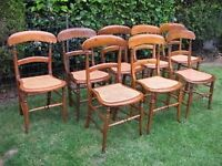Set of eight cane beech dining chairs