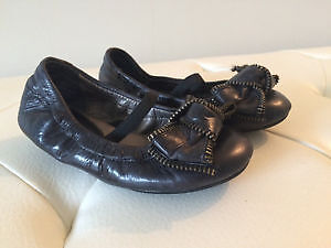 Nordstrom, Leather Girls Zipper Bow Flats, Toddler Size 9