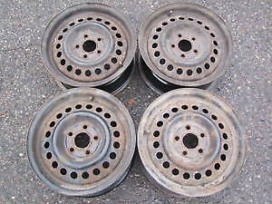 Full set (4) of 5 x 100 steel rims from 2002 Chevy Cavalier