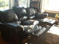 double reclining leather couch
