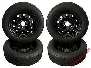 225/50/17 X 4 Winter Tires + Black Steel Rims - 1 1/2 winters