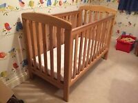 Mamas & Papas oak cot bed crib child baby