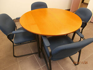 desk, chairs, tables, hanging racks, roadshow display cabinet