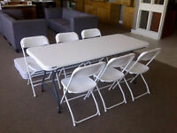 COMPANY COMING? LIFETIME COMMERCIAL 6' STACKING TABLES/ 6 CHAIRS