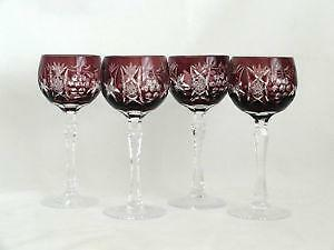 Dark Red Cut To Clear Bohemian Glass Wine Goblet Glass Art Glass