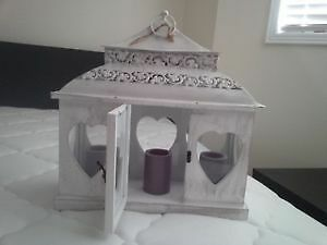 White Wood Vintage Candle Lantern