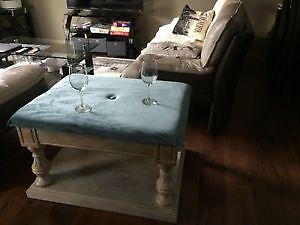 Unique Maple Coffee Table w/Velvet Top