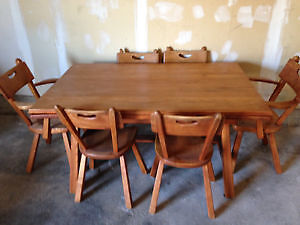 Solid Maple dining table, 6 chairs, and hutch