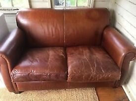 Vintage retro looking leather 2 seater sofa Laura Ashley TRING