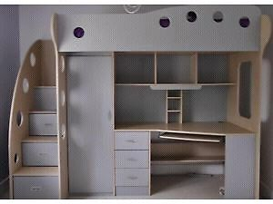 Silver Jysk loft bed with desk and storage