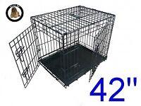 42 Inch Ellie-Bo Standard XL Dog Cage in Black