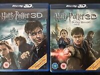 Harry Potter 3D Blue -ray DVDs Deathly Hallows part 1 and part 2 unused